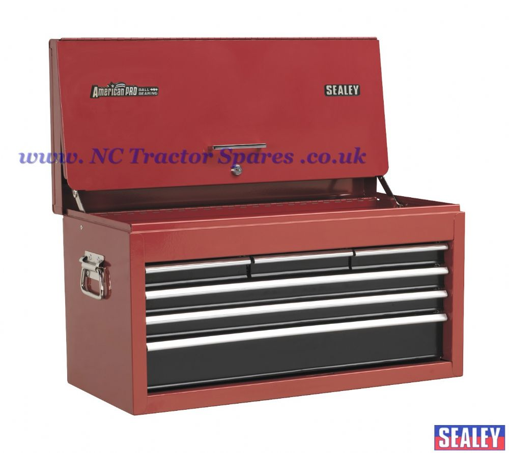 Topchest 6 Drawer with Ball Bearing Runners Drop Front - Red/Black
